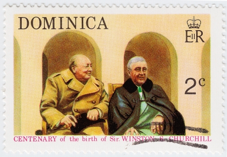 DOMINICA - CIRCA 1974 : stamp printed in Dominica shows Winston Churchill (L) and Franklin D. Roosevelt in The Tehran Conference 1943 , circa 1974 Stock Photo - 15768018