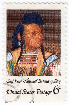 peacemaker: USA - CIRCA 1968: stamp printed in the USA shows Chief Joseph, chief of the Wal-lam-wat-kain (Wallowa) group of Nez Perce in Oregon, humanitarian and peacemaker in old West, circa 1968