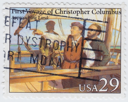 colonizer: USA - CIRCA 1996 : stamp printed in USA shows First Voyage of Christopher Columbus, 1996