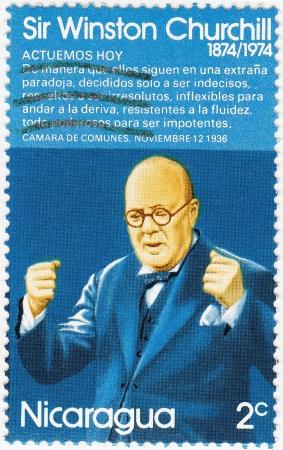 NICARAGUA - CIRCA 1974 : stamp printed in Nicaragua shows Winston Churchill, circa 1974 Stock Photo - 15767982