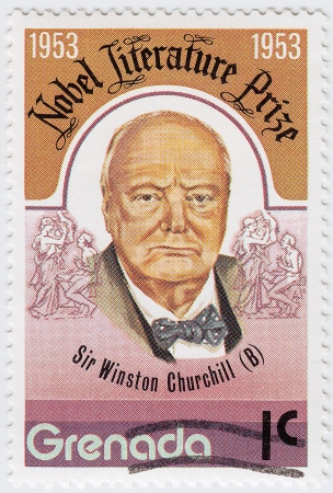 GRENADA - CIRCA 1997 : stamp printed in Grenada shows Winston Churchill is an Nobel Literature Prize in 1953 year, circa 1997