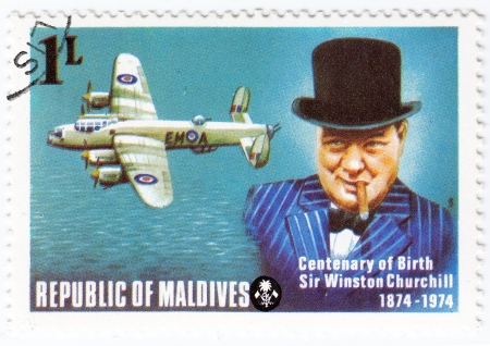 Maldives - circa 1974 : stamp printed in Maldives with a picture of Sir Winston Churchill , centenary of Birth, circa 1974 Stock Photo - 15768028