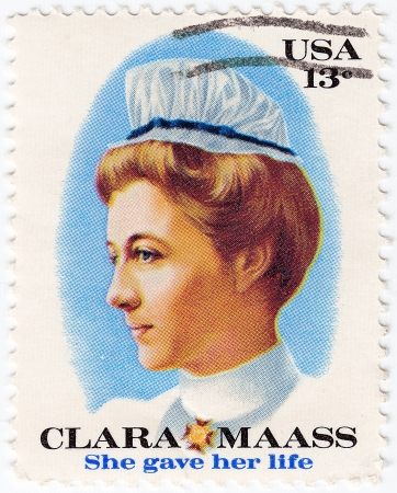 united states postal service: USA - CIRCA 1965 : stamp printed in USA shows Clara Maass, a nurse who died for the cause of yellow fever research, circa 1965  Editorial