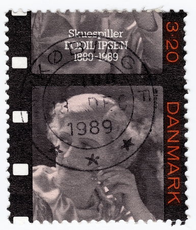 DENMARK - CIRCA 1989 : stamp printed in Denmark shows Bodil Ipsen Danish actress and film director, circa 1989 Stock Photo - 15767976