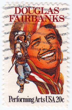 screenwriter: USA - CIRCA 1999 : stamp printed in USA shows Douglas Fairbanks an American actor, screenwriter, director and producer, circa 1999 Editorial