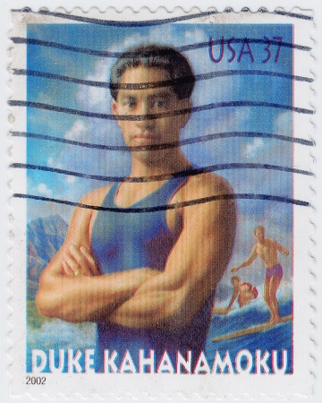 USA - CIRCA 2002 : stamp printed in USA shows Duke Kahanamoku was a Hawaiian swimmer, actor, lawman, beach volleyball player, circa 2002 Stock Photo - 15792601