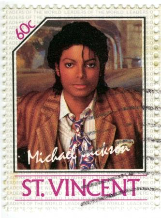 michele: SAINT VINCENT - CIRCA 1985 francobollo stampato in St Vincent con Michael Jackson, intorno al 1985