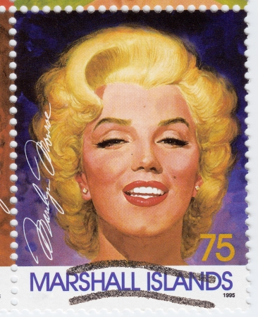 MARSHALL ISLANDS - CIRCA 1995  Stamp printed in Marshall Islands with popular 1960s American actress Marilyn Monroe, circa 1995  Stock Photo - 15792206