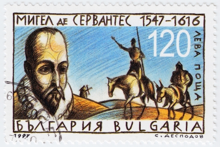 BULGARIA - CIRCA 1997  stamp printed in Bulgaria shows Miguel de Cervantes Spanish novelist, poet and playwright, circa 1997