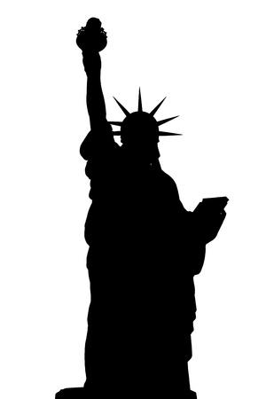 estatua de la justicia: silueta Nueva York Estatua de la Libertad aislado en blanco Foto de archivo
