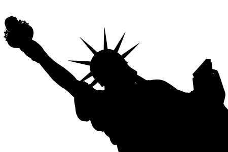 silhouette NY Statue of Liberty isolated on white photo