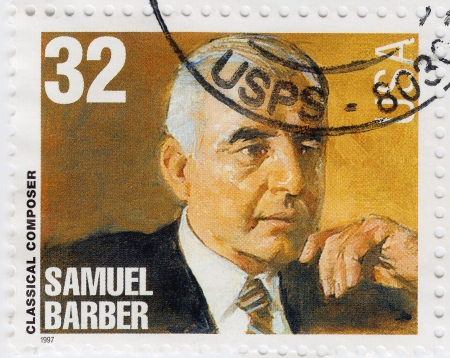 samuel: USA - CIRCA 1997 : stamp printed in USA show American classical Composer Samuel Barber, circa 1997