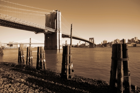 classical NY - Brooklyn bridge, view to Brooklyn from Manhattan Stock Photo - 15795573