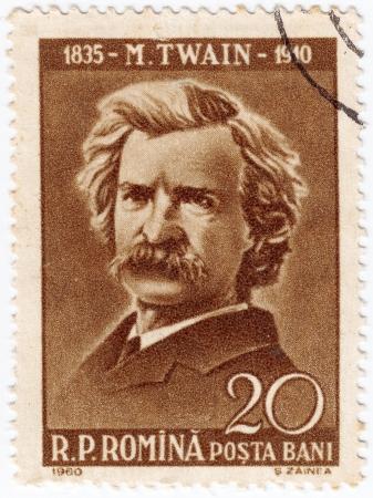 twain: ROMANIA - CIRCA 1960: stamp printed by Romania, show writer Mark Twain, circa 1960 Editorial