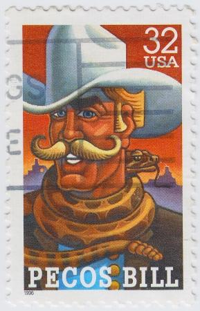 show bill: EE.UU. - CIRCA 1996: sello impreso en los EE.UU. muestra Pecos Bill es un vaquero americano, en los cuentos del viejo oeste, alrededor de 1996 Editorial