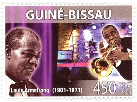 postmarked: vintage stamp with famous jazz-man Louis Armstorng Editorial
