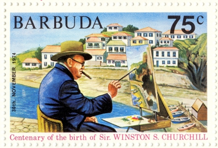 winston: BARBUDA - CIRCA 1974 : great UK politic Winston Churchill painting picture Editorial