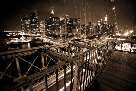 night view to Manhattan from Brooklyn bridge Stock Photo - 15808110