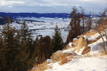 redditch: classic winter rural landscape with Mt, Montana, USA