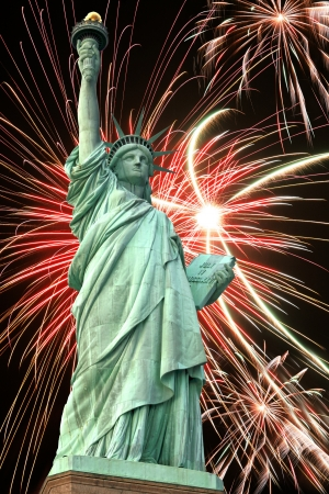 Statue of Liberty and fireworks in black sky Stock Photo - 15817438