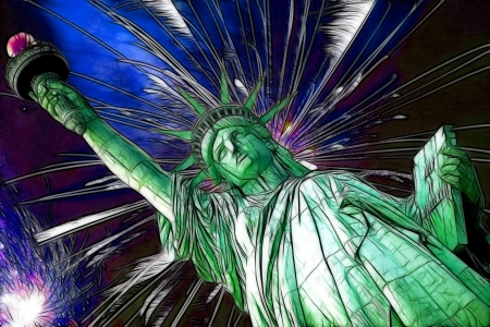 Statue of Liberty and fireworks in black sky Stock Photo - 15817238