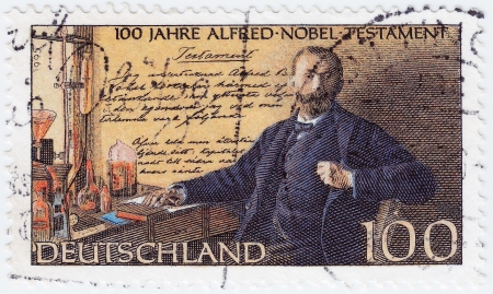 GERMANY - CIRCA 1995: stamp printed in Germany dedicated to 100 years of the will of Alfred Nobel, circa 1995  Stock Photo - 15816418