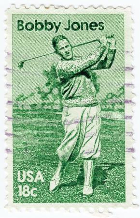 bobby: USA - CIRCA 1981: stamp printed in the USA shows Robert Tyre Bobby Jones Jr American amateur golfer, circa 1981