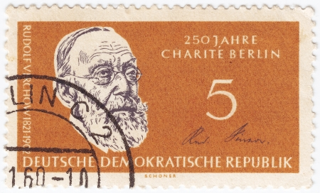GERMANY- CIRCA 1971: stamp printed in Germany  shows Rudolf Virchow, circa 1971 Stock Photo - 15816398
