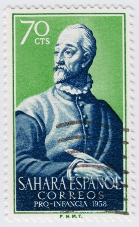 SAHARA colony of Spain  - CIRCA 1958 : stamp printed in Sahara then colony of Spanish shows Miguel de Cervantes Spanish novelist, poet and playwright, circa 1958 Stock Photo - 15816405