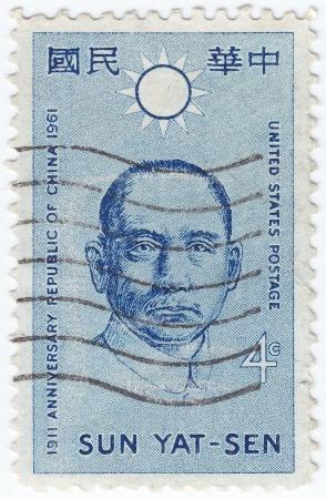 USA - CIRCA 1961: stamp printed in USA dedicated to anniversary republic of China, shows Sun Yat-sen, circa 1961 Stock Photo - 15816408