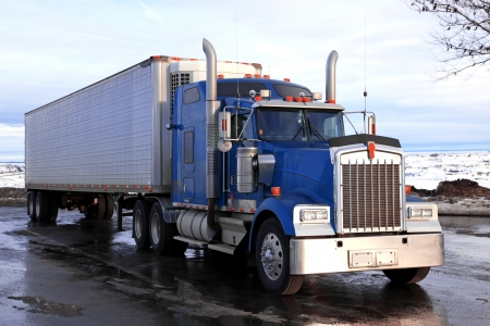 wide wet: classical american truck outdoors