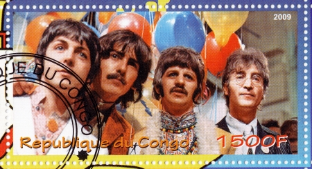 postmarked: CONGO - CIRCA 2009 : stamp printed in Congo with Beatles - popular music group in 1960s, circa 2009