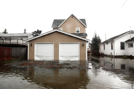 wade: flood in Seattle area, usa, Washington Stock Photo