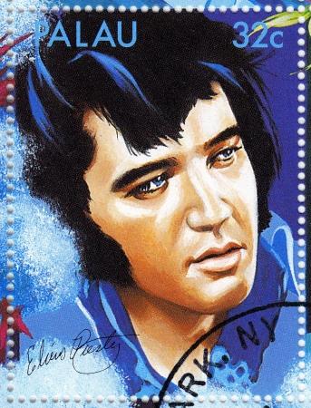 elvis presley: PALAU - CIRCA 2007 :stamp printed in Palau - famous rock and roll singer Elvis Presley, circa 2007 Editorial