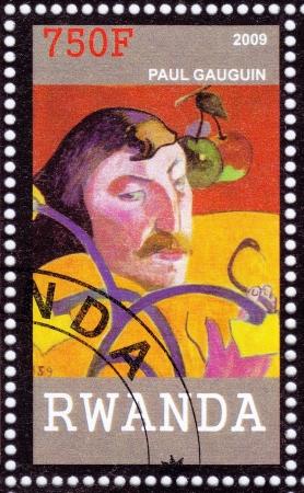 henri: RWANDA - CIRCA 2009: Stamp printed in Rwanda shows Eugene Henri Paul Gauguin -  leading Post-Impressionist painter, circa 2009 Editorial