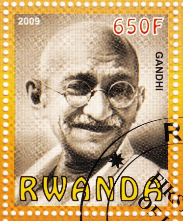 RWANDA - CIRCA 2009 :stamp printed in Rwanda with Mahatma Gandhi , circa 2009