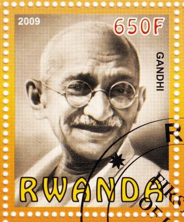 gandhi: RWANDA - CIRCA 2009 :stamp printed in Rwanda with Mahatma Gandhi , circa 2009