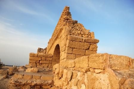 ceasarea: Israel, old Ancient Roman aqueduct in Ceasarea at the coast of the Mediterranean Sea