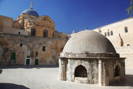 Place at Dome on the Church of the Holy Sepulchre in Jerusalem photo
