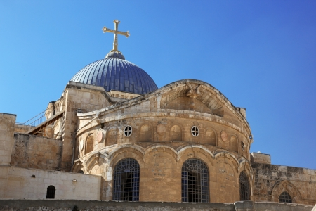 sepulcher: Dome on the Church of the Holy Sepulchre in Jerusalem, Israel Stock Photo