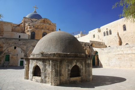 sepulchre: Dome on the Church of the Holy Sepulchre in Jerusalem, Israel Stock Photo