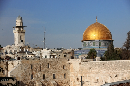 kotel: Western Wall  Wailing Wall, Kotel  and Dome of the Rock Al-Aqsa in Jerusalem, Israel