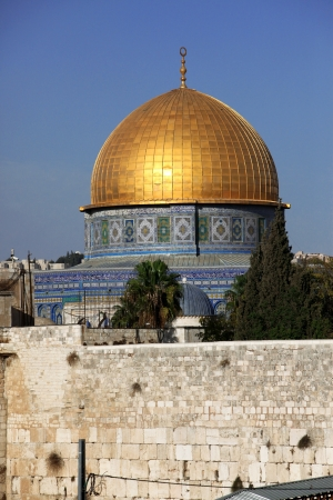 kotel: Classic Israel - Western Wall (Wailing Wall, Kotel) and Dome of the Rock Al-Aqsa in Jerusalem Stock Photo