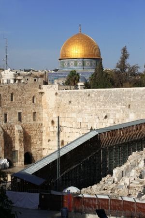 kotel: Western Wall (Wailing Wall, Kotel) and Dome of the Rock Al-Aqsa in Jerusalem, Israel  Stock Photo