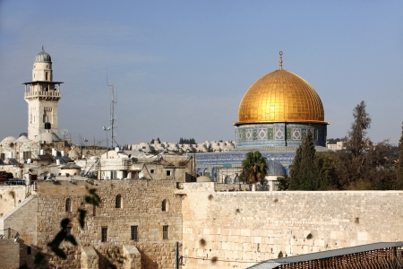 Western Wall (Wailing Wall, Kotel) and Dome of the Rock in Jerusalem, Israel photo