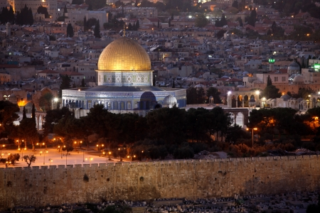 Classic Israel  - Evening in Old City, Temple Mount with Dome of the Rock view from the Mt of Olives in Jerusalem photo