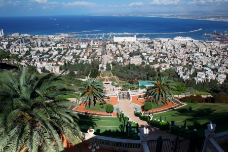 Haifa city, view of the Bahai gardens and Haifa bay, Israel photo