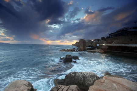 akko: Sundown in the mediterranean at city of Acre in Western Galilee Stock Photo