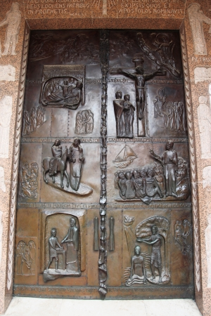 Classic Israel - Door with scenes from Bible in the Church of Annunciation in Nazareth  photo