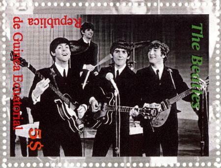 the beatles: REPUBLIC GUINEA ECUTORIAL � CIRCA 2003 : The Beatles  - 1980s famous musical pop group. Editorial